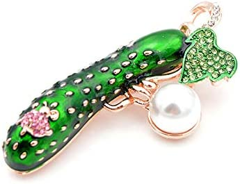 GLEEBROOCH Brooches for Women Cute Cucumber Pearl Pins for Coat Skirt Accessories Jewelry