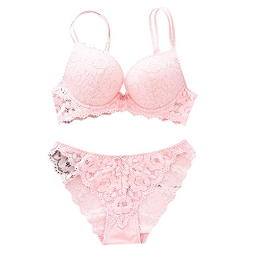 POQOQ Women's Full Lace Bra Lingerie Breathable Lace Panties Lingerie Sets(Pink,75)]()