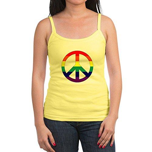 Royal Lion Jr. Spaghetti Tank Rainbow Peace Symbol Sign - Lemon, Medium