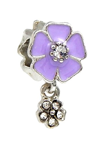 J&M Dangle Violet Flower with Crystals Charm Bead for Charms - Violet Pandora