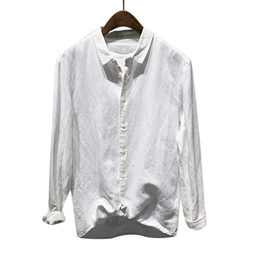 LUCAMORE Men's Casual Solid Button Down T Shirt Cotton Slim Fit Long Sleeve Top Shirt Blouse White