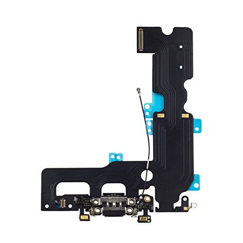 COHK USB Charging Port Dock Connector Flex Cable with Microphone and Cellular Antenna Cable Replacement for iPhone 7 Plus 5.5 inches (Black) (Usb Cell Antenna)