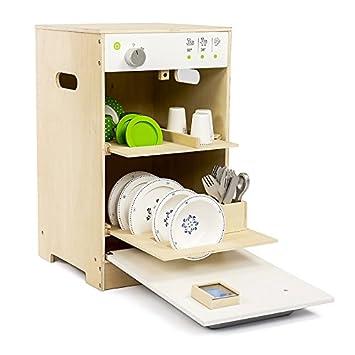 Lavavajillas en madera - Medidas: 49,9 x 33,5 x 29 cm - Puerta practicable y bandejas extraibles (accesorios no incluidos): Amazon.es: Juguetes y juegos