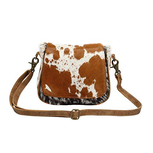 Myra Bag Flap Over Cowhide & Leather Small Crossbody Bag ()