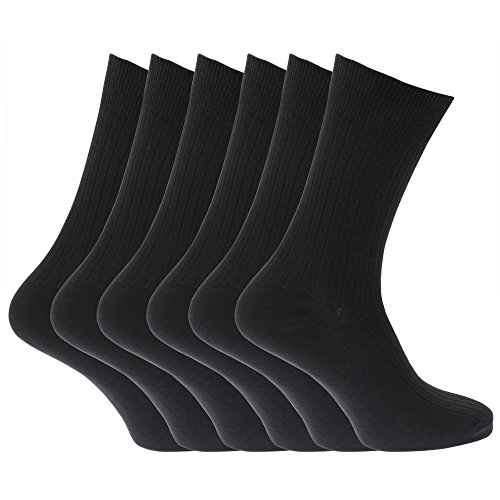 Mens 100% Cotton Ribbed Classic Socks (Pack Of 6) (US Size 7-12) (Black)