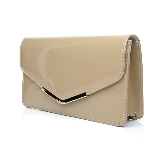 LUCKY Dark Nude Patent PU Leather Medium Size Clutch Bag: Amazon.co.uk:  Shoes & Bags