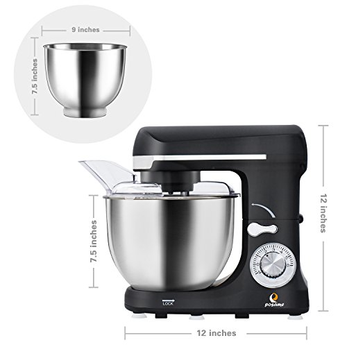 POSAME Stand Mixer 500W 6-Speed Professional Kithchen Mixer Tilt-Head Electric Food Machine with 5-Qt. Bowl,Dough Hook, Whisk, Beaters (Black) by POSAME (Image #6)
