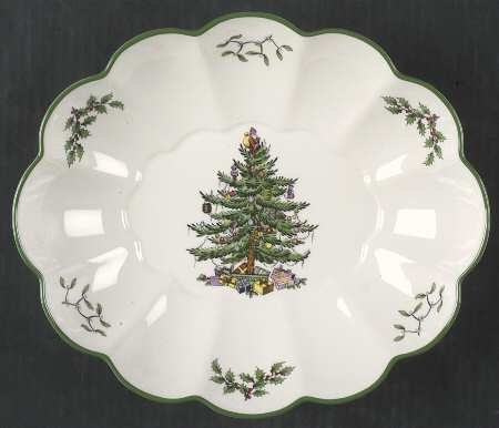 Oval Fluted Dish Spode Christmas Tree ()