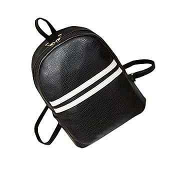 Women PU Leather Backpack,Kaifongfu Black Backpack Shoulders Zipper Travel Bag