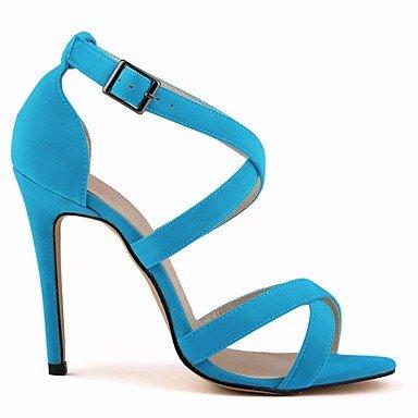 4 3 US6 EU36 pwne Negro Pulg Pu Tacones 4 Mujeres 4A Stiletto De CN36 UK4 Azul Confort Casual Primavera Talón wxaTw