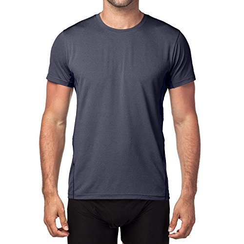 LAPASA Men's Quick Dry Running T-Shirt - SILVADUR Microbial and Odor Control - Running Workout Tops Vests Tees 1-2 Pack - M15 Navy Blue ()