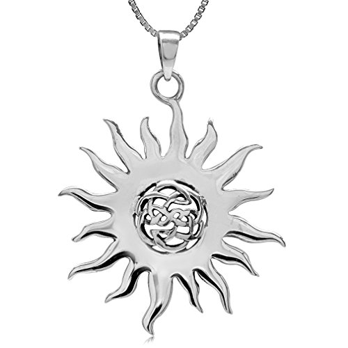 925 Sterling Silver Celtic Knot SUN Pendant w/ 18 Inch 1MM Venetian Box Necklace