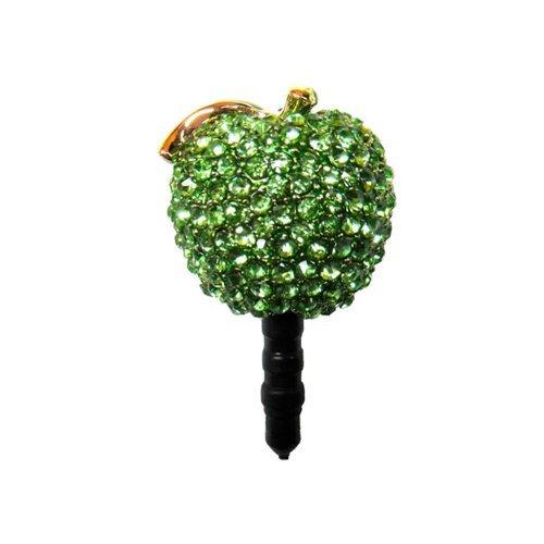 Gioielli per il tuo telefonino nella forma di mela con strass in color verde.
