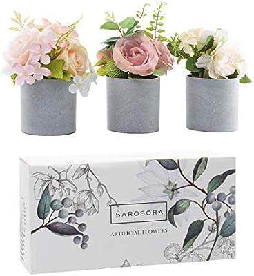 Sarosora Artificial Silk Flower In Pots Rose Peony Arrangement For Living Room Home Wedding Decor Indoor Lovely Gift 6 Inch Set Of 3 Round Vase Amazon Sg Home