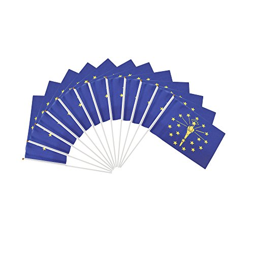 Indiana State Polyester Flag - Indiana in Polyester State Flags Desk Outside Waving Parade Hoosier (12-Pack Hand Flag)