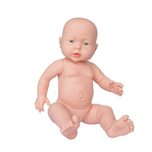 Rifi 16 Inches High Simulation Nontoxic Naked Latex Rotocast Baby Doll Girl (you can help the doll to wear clothes)