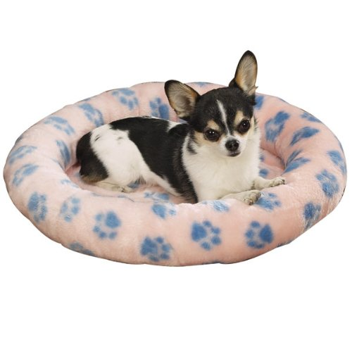 Slumber Pet 18-Inch Plush Oval Dog Bed, Small, Pink Pawprint ()