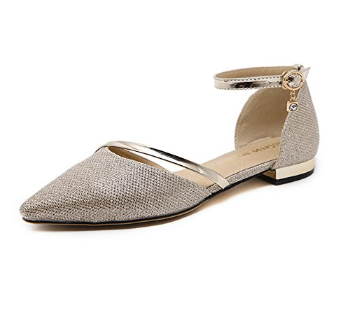 1TO9 Womens Buckle Urethane Flats Shoes Gold Yc884S