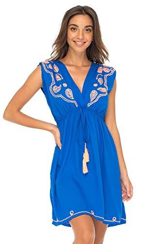 Back From Bali Womens Dress Boho Embroidered Sleeveless Summer Sundress Deep V Neck Midi Short Dress Royal Blue L/XL
