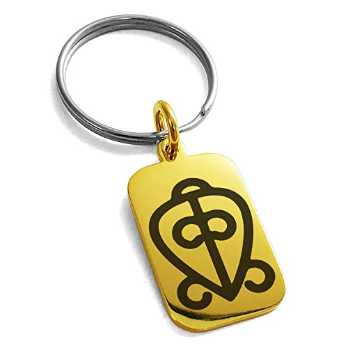(Tioneer Gold Plated Stainless Steel Aztec Power of Love Rune Symbol Engraved Small Rectangle Dog Tag Charm Keychain Keyring)