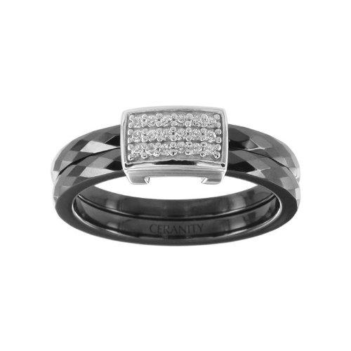 Ceranity - 1-12/0045-N - Bague Femme - Motif Carré - Argent 925/1000 0.9 gr - Oxyde de zirconium - Céramique - Blanc