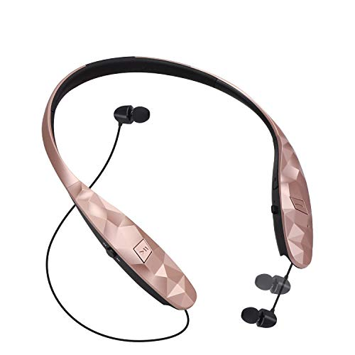 Bluetooth Retractable Headphones, CaYoumi Wireless Earbuds Neckband Headset Sports Sweatproof Earphones Compatible with iPhone Android (15 Hrs Playtime, Call Vibrate Alert, Rose)