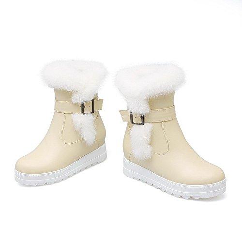 Kitten Round AgooLar Zipper Material Women's Boots top Low Beige Soft Toe Heels Closed ZnxwRYqBA8