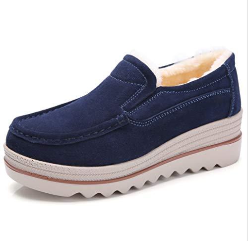 Zapatos Cintura Mujer Cuña Y Terciopelo Cálido Piel Mocasines Liangxie Ante Ancha Algodón Azul Baja Vaca Con Comodidad De Plataforma p0F8z