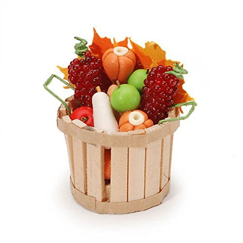 Darice Miniature Fall Basket with Fruit & Vegetables