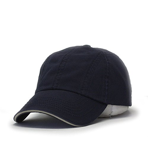 - Washed Cotton Twill Five Panel Adjustable Camper Caps (Navy/Navy/Khaki Sandwich 12)