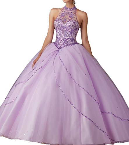 Wenli Women High Neck Tulle Beaded Bodice Quinceanera Dresses With Bolero 4 US Lilac (Purple Masquerade Dresses)