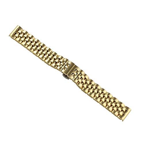 20mm Jubilee Style Luxury Gold Solid Inox Metal Watch Strap Replacements Uniflow Heavy Type Stainless Steel Straight End -  AUTULET, OT.TY5.20GD.HD