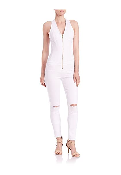 b85ed57fb49d GUESS Women s Denim Zip-Up White Wash Jumpsuit Size 8  Amazon.ca ...