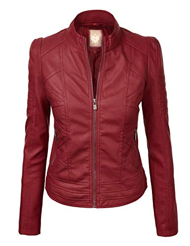 Lock and Love LL WJC746 Womens Vegan Leather Motorcycle Jacket XS Wine