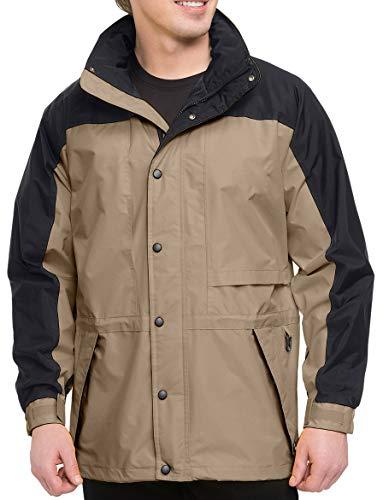 (Premium Quality Men's Tall Sizes 100% Toughlan Nylon Parka Climax Jacket - Khaki/Black, 2XLT)