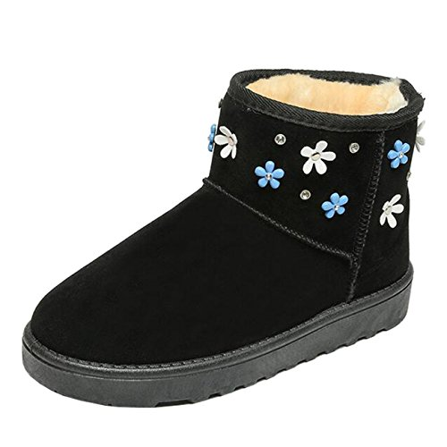 Mashiaoyi Women's Round-Toe Flower Flat Slip-On Suede Snow Boots Black nodq51