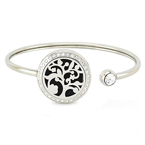 Jenia 25MM Stainless Steel Locket Crystal Bracelet Essential Oil Diffuser Bangle Bracelet with Refill Pads (tree essential oil bracelet)