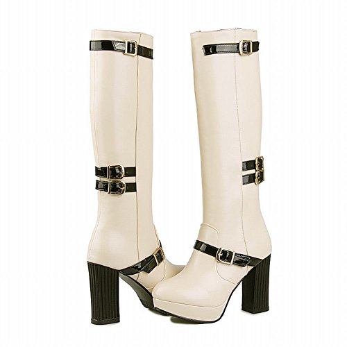 Carolbar Womens Multi Buckles Fashion Zipper Platform Date Night Club Sexy High Heel Tall Dress Boots Beige UyRAQLKLJO