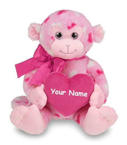 Personalized Lovie Louie Valentines Day Monkey Plush Stuffed Animal Toy with Custom Name - 10 Inches (Bearington Baby Diaper Bag)