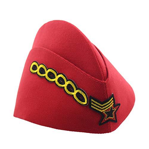 BESTOYARD Nautical Sailor Hat Five-Star Chain Stewardess Hat Airline Beret Adult Costume Accessory Halloween Cosplay Costume (Red) ()