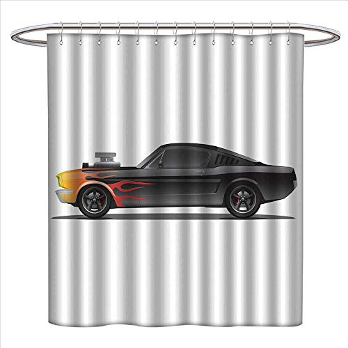 Cars Shower Curtain Collection by Custom Design Muscle Car with Supercharger and Flames Roadster Retro Styled Patterned Shower Curtain W36 x L72 Charcoal Grey Orange
