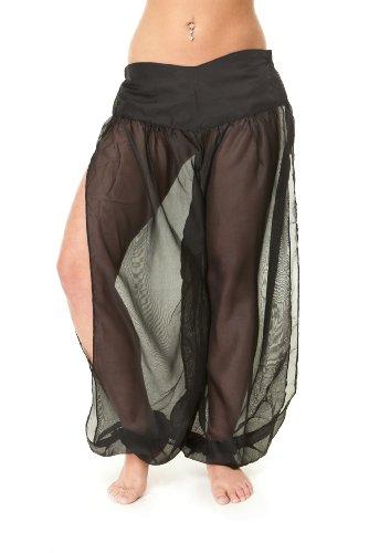 Belly Dancer Dancing Harem Pants - Professional Chiffon Harem Pants for Belly Dancing Dancers Yoga Pilates with Drawstring (Black)