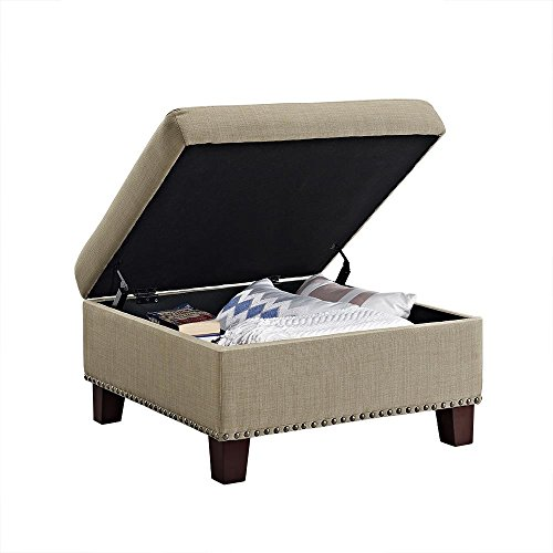 Dorel Living Square Upholstered Ottoman with Nailhead Detail, Linen-Look, Oatmeal