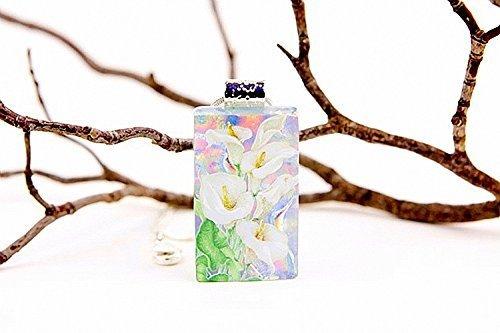 Calla Lily Jewelry Fused Dichroic Glass Pendant 18