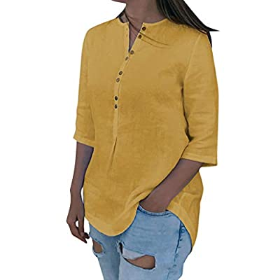 New in HAALIFE ?? Women Plus Size Cotton Linen Tops Button Down V Neck Shirts Half Sleeve Blouse Roll Up Cuffed for Women