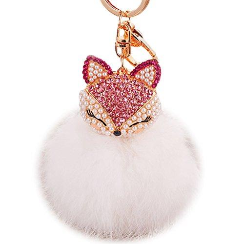 Boseen Genuine Rabbit Fur Ball Pom Pom Keychain with A fashion Alloy Fox Head Studded with Synthetic Diamonds(Rhinestone) for Womens Bag Cellphone Car Charm Pendant Decoration(White2)