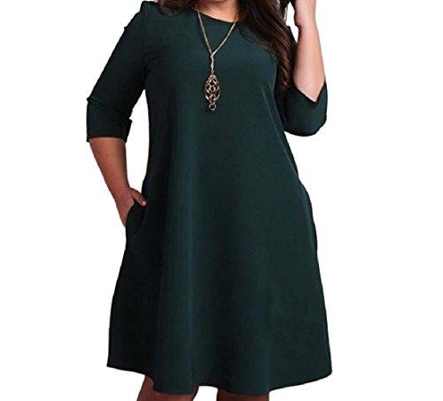 Femmes Coolred Poches Ras Du Cou Surdimensionné Robe De Cocktail Vogue Pure Couleur Verte Noirâtre