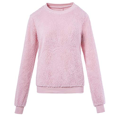 Aniywn Plus Size Sweater for Ladies, Women's Round Neck Plush Warm Long Sleeve Solid Color Sweatshirt Tops Blouse Pink (Best Flow Chart Creator)