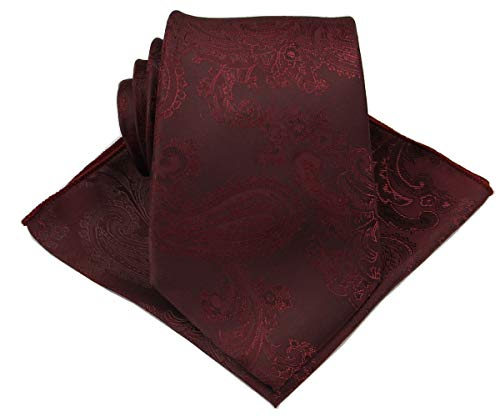 "Mens Silk Paisley Tie Set:Necktie and Pocket Square-(Available in Standard 58-inch and 63-inch Extra Long) (Extra Long 63"", Maroon)"