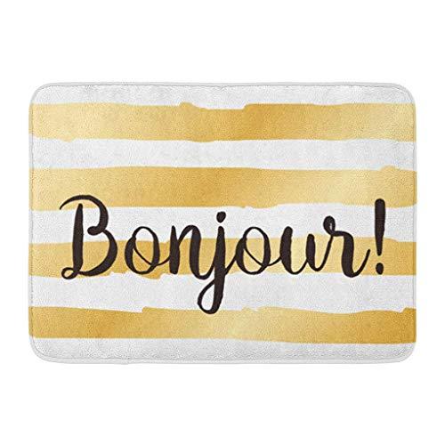 (YGUII Doormats Bath Rugs Outdoor/Indoor Door Mat Script Bonjour Hello Inscription Lettering Overlay Text Black Brush Bathroom Decor Rug Bath Mat 16X23.6in (40x60cm))